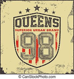 vintage queens typography t-shirt graphics - vintage queens...