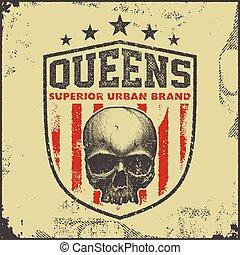 vintage queens typography t-shirt graphics - vintage queens...