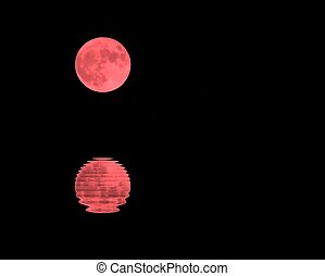 red moon in the dark sky on a night and the sea