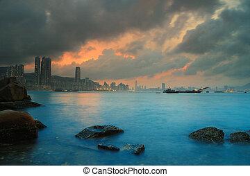 Lei Yue Mun, Yau Tong, Hong Kong - hk Sunset, Yau Tong Lei...