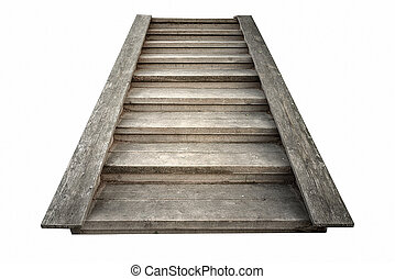 wooden stairs isolated closeup on white background - wooden...