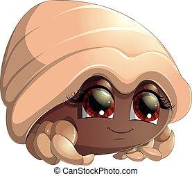 bright crab cartoon - bright brown crab cartoon on a white...