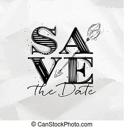 Poster wedding save date - Poster wedding lettering save the...