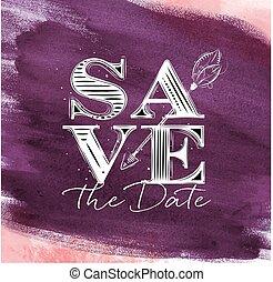 Poster wedding save date violet - Poster wedding lettering...