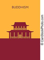 Buddhist temple icon. Religious building. Landmark and place...