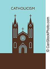 Catholic cathedral icon. Christianity building - Catholic...