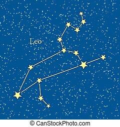 Leo Zodiac on Background of Cosmic Sky - Leo zodiac on...