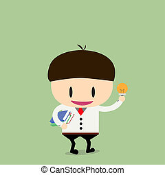 businessman student with a book and idea in hand. Vector,...
