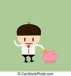 Businessman try to put a coin into a piggy bank