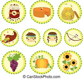 Thanksgiving Native Characters and Items Icon Set.