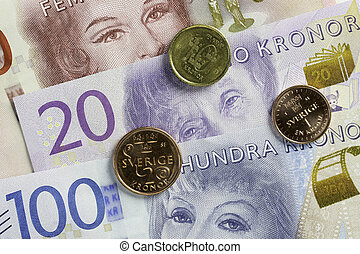 Swedish Currency Close Up - Swedish Currency (100 and 200...