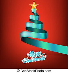 Christmas tree from blue ribbon and star. EPS 10 vector file...