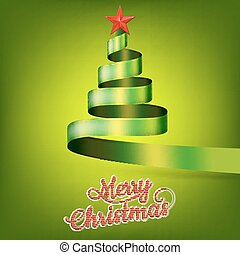 Christmas tree from green ribbon and star. EPS 10 vector...