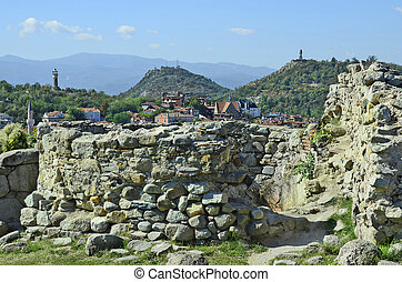 Bulgaria, Plovdiv, cityscape from ancient fortress with...