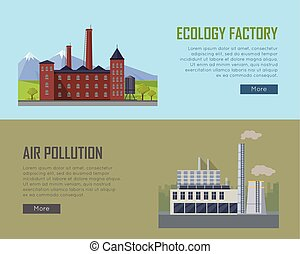 Ecology Factory and Air Pollution Plant Banners. - Ecology...