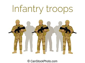Infantry Troops Soldiers with Weapon. Vector - Infantry...