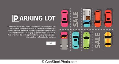 Parking Lot Top View - City parking vector web banner. Flat...
