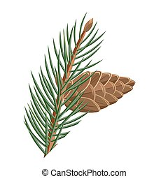 Pine Branch with Cone Vector in Flat Design
