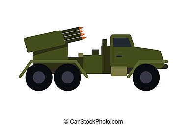 Military Vehicle with Rockets. Armoured Truck - Military...