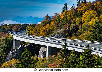 Wide Curve of Linn Cove Viaduct during autumn