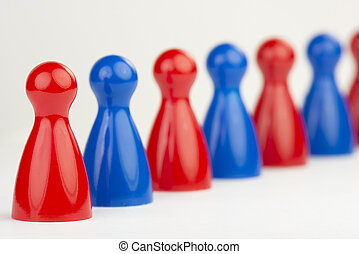Conceptual game pawns that visualize the concept chain...