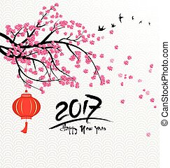 Merry christmas happy new year 2017 and fireworks, flowers