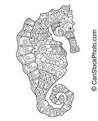 Sea horse coloring vector for adults - Sea horse coloring...