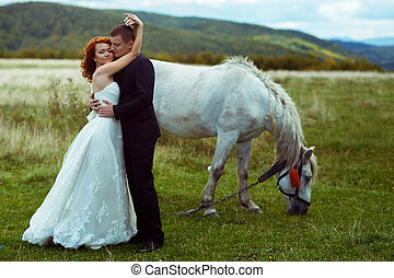 Newlyweds hug standing behind a horse on the field somewhere...