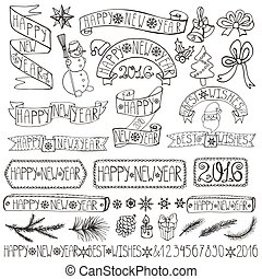 New year decoration labels,ribbons,lettering.Linear -...