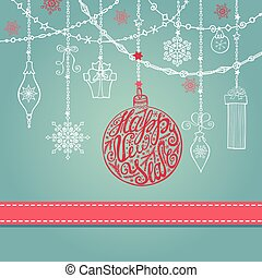 New year card with ball,garlands,gifts,ribbon