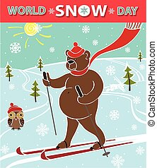 Brown bear skiing. World Snow day