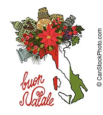 Italy christmas card.Hand drawn doodle map - Italy Merry...