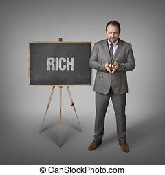 texto, hombre de negocios, rico, pizarra