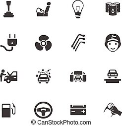 Car service icon set - Car service maintenance icons set for...