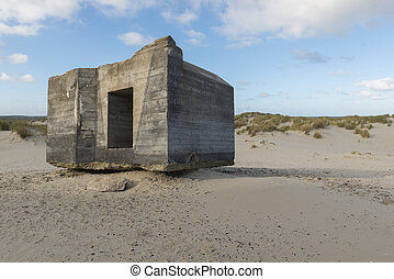 Old German bunker on the island of Terschelling in the...