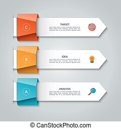 Infographic arrows. Vector template for business infographics with 3 options, steps, parts. Can be used for diagram, graph, presentation, chart, report, data visualization, web design
