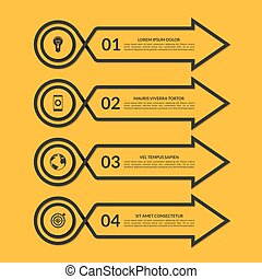 Infographic arrow design template with 4 options -...