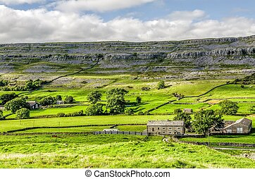Green landscape of Yorkshire Dales, England - Farm house in...