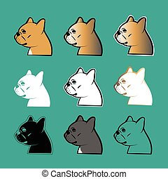 french bulldog vector - set of french bulldog vector