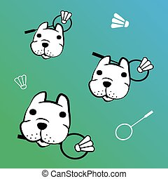 french bulldog vector with badminton - cute french bulldog...
