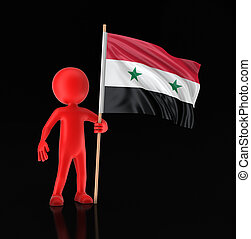 Man and Syrian flag. Image with clipping path