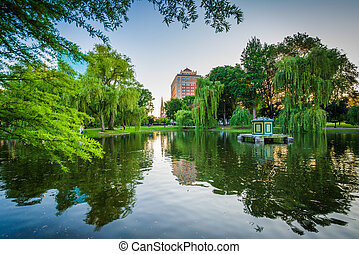 The pond at the Boston Public Garden, in Boston, Massachusetts.