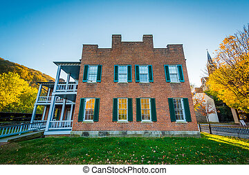 Historic buildings in Harpers Ferry, West Virginia.