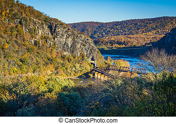 View of railroad bridges and the Potomac River, in Harpers Ferry, West Virginia.
