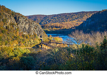 View of railroad bridges and the Potomac River, in Harpers...