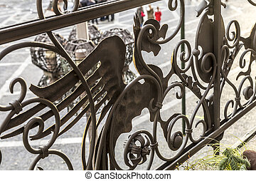 iron bird ornament of an old balcony balustrade in Mainz