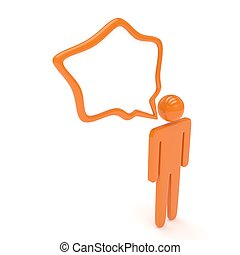 3d man with talk bubbles isolated over a white background....