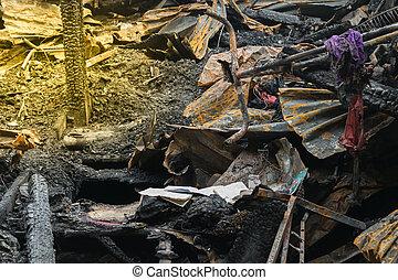 Conflagration fire damaged