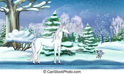 Magic Unicorn in a Winter Forest
