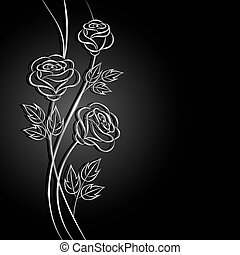 Silver flowers with shadow on dark background. Vector...